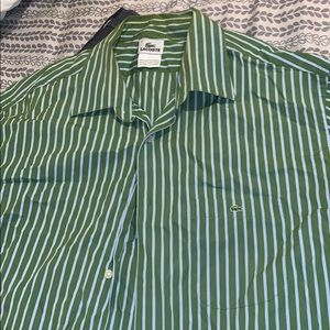 Green/White Striped Lacoste Button Shirt